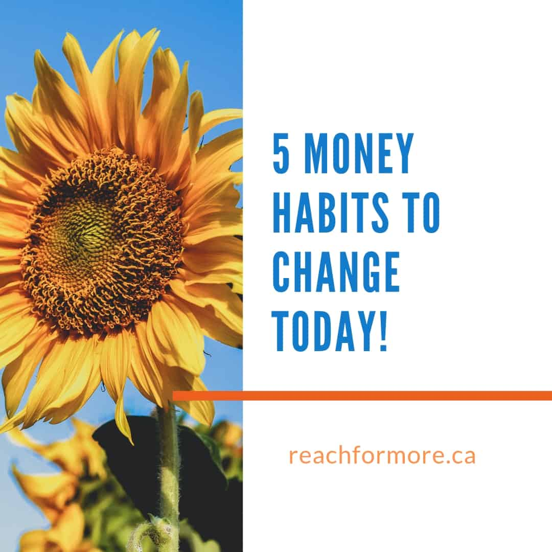 large sunflower on a blue sky background next to the text 5 money habits to change today