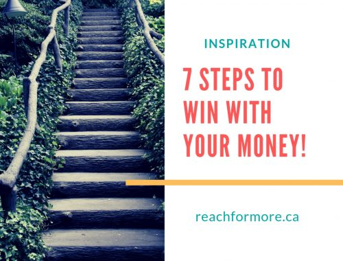 stone staircase surrounded by green plants, text that reads inspiration 7 steps to win with your money