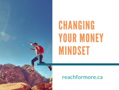 man in a red coat leaping between rocks in the desert with text: changing your money mindset