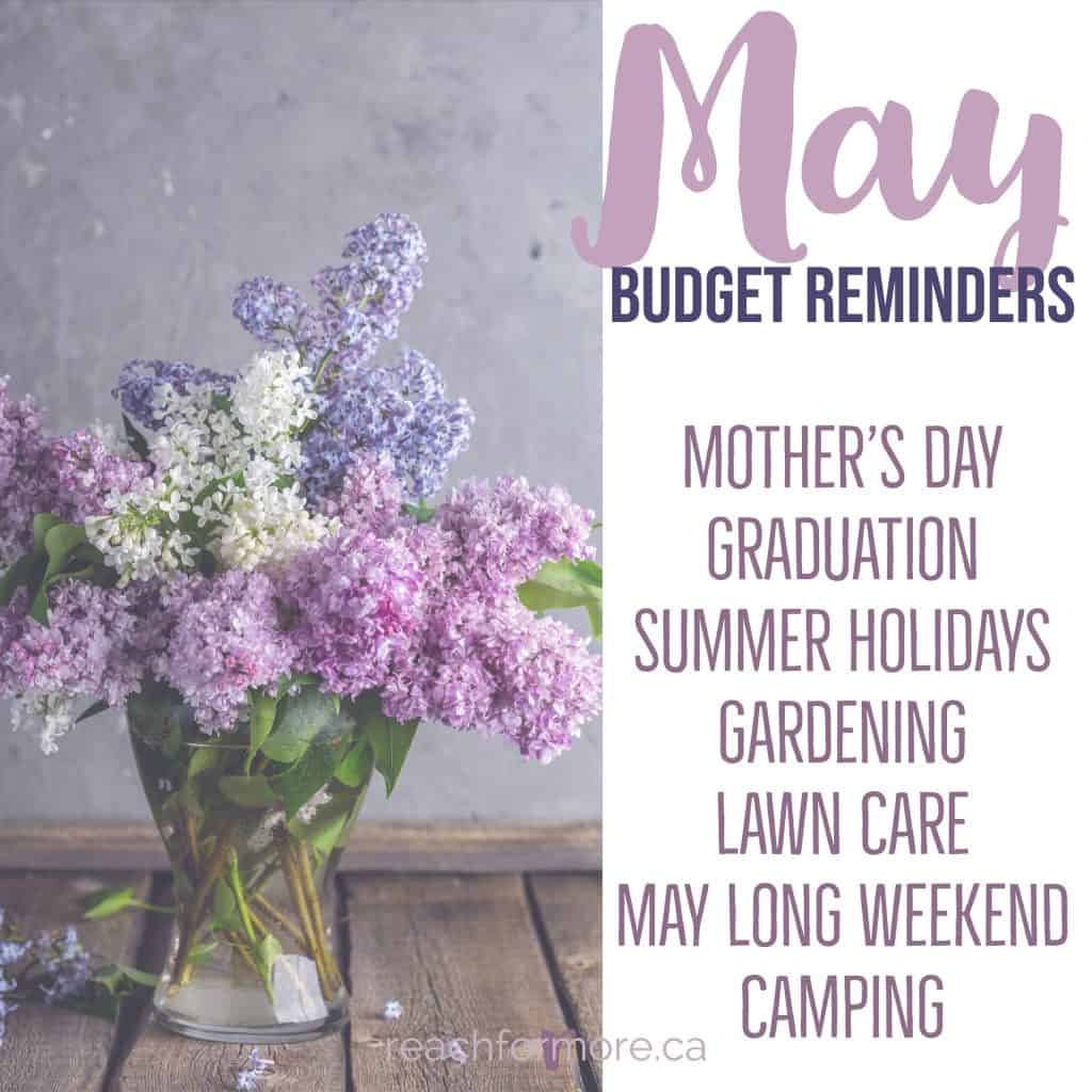 May budget reminders - mother's day, graduation, summer holidays, gardening, lawn care, may long weekend, camping