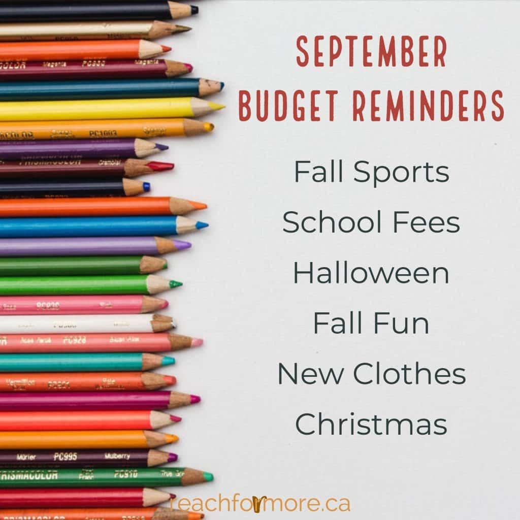 September Budget Reminders
