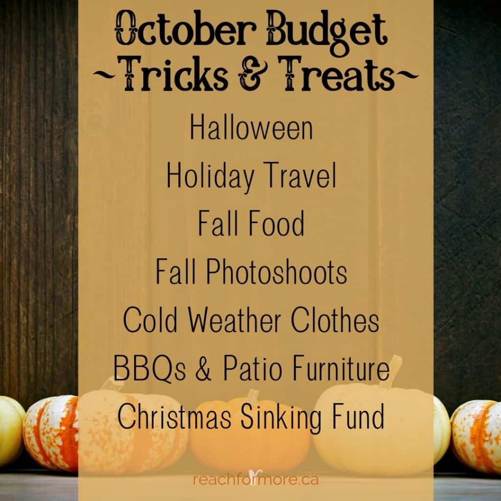 October Budget Reminders - What do you need to add to YOUR budget?