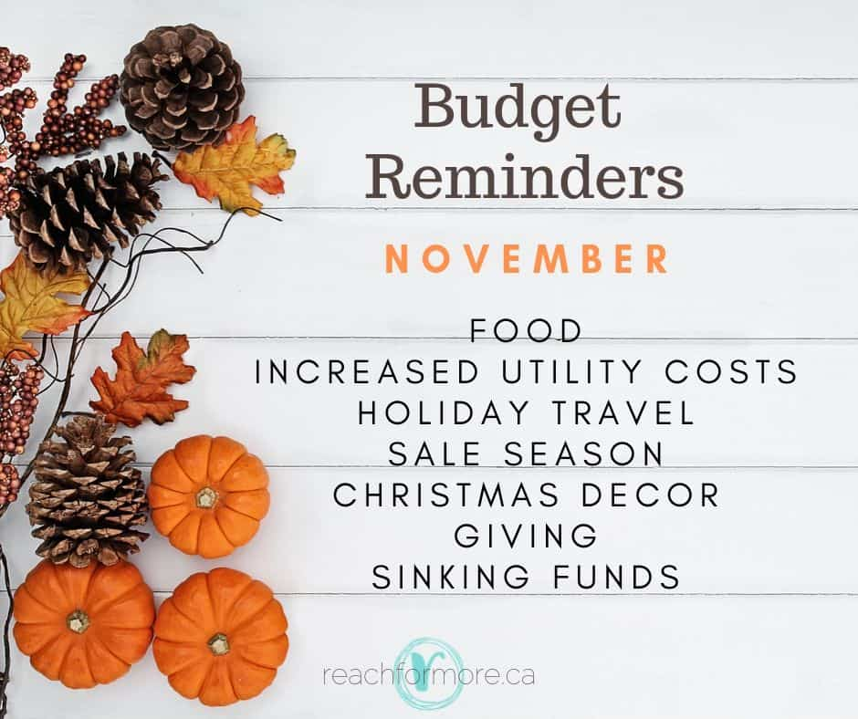 November Budget Reminders to help you stay intentional with your money!