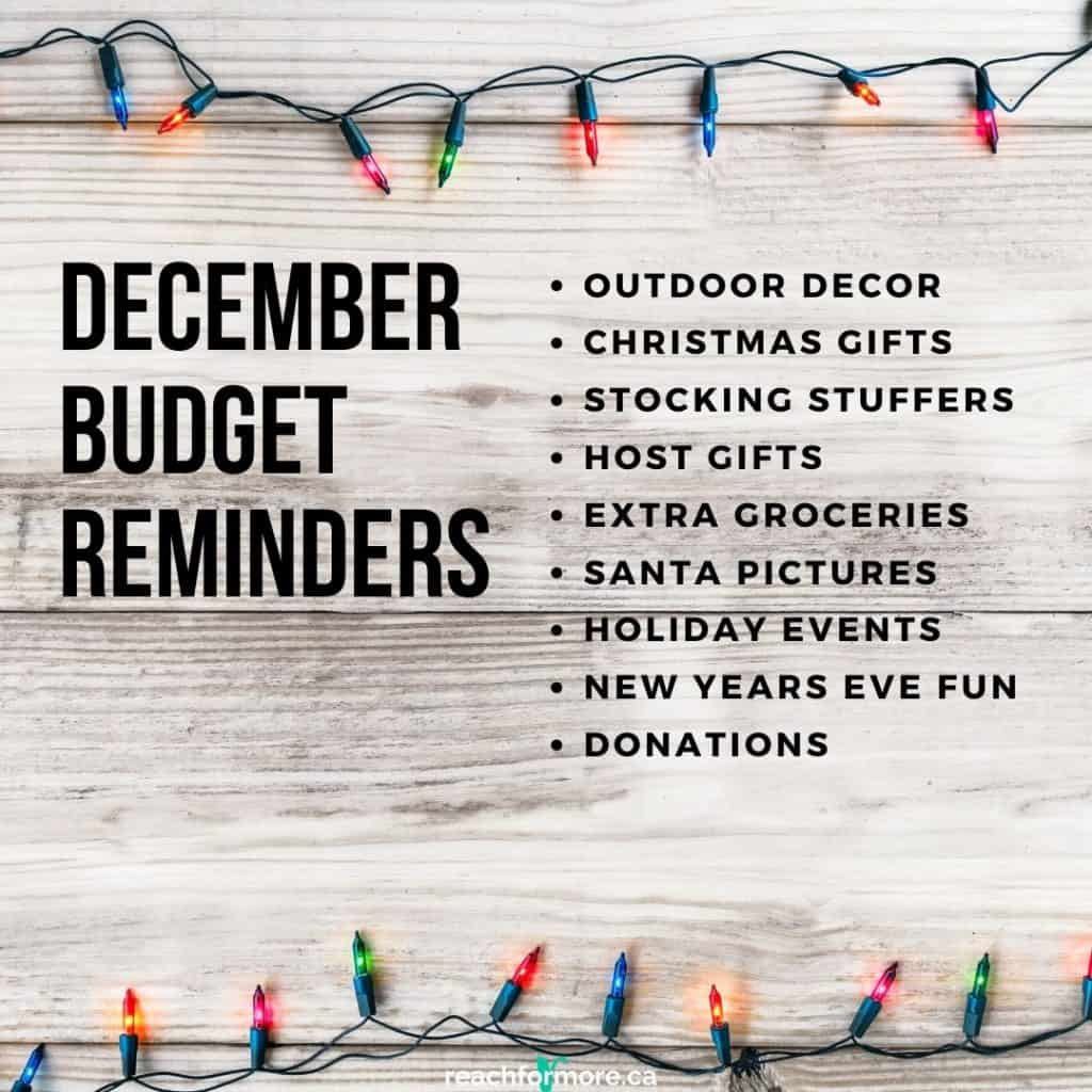 December budget reminders to help you organize your budget for the last month of the year!