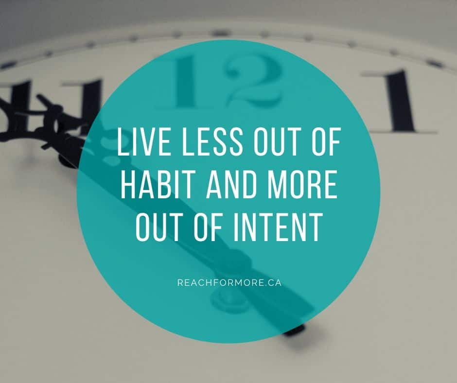 Live less out of habit and more out of intent. I is for intentional living - how to live life, on purpose