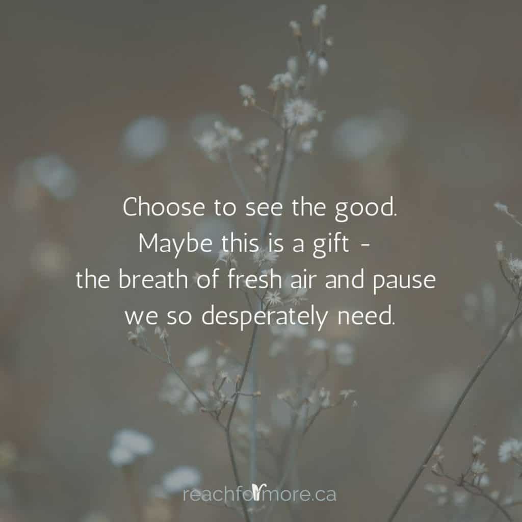 """Find what you can control.  """"Choose to see the good. Maybe this is a gift - the breath of fresh air and pause we so desperately need"""""""