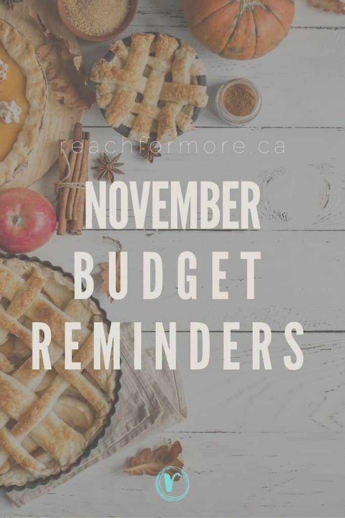 November Budget Reminders
